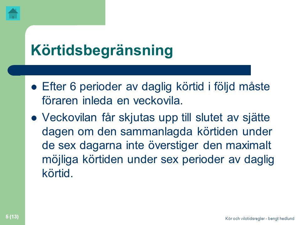 Körtidsbegränsning Efter 6 perioder av daglig körtid i följd måste föraren inleda en veckovila.