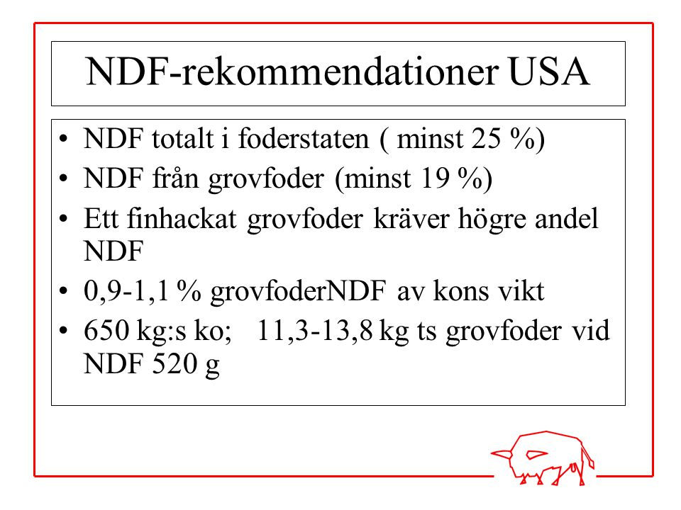NDF-rekommendationer USA