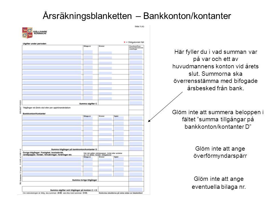 Årsräkningsblanketten – Bankkonton/kontanter