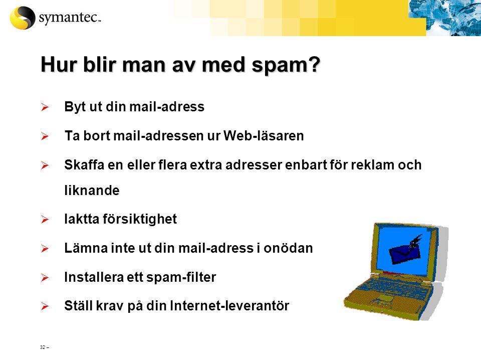Hur blir man av med spam Byt ut din mail-adress
