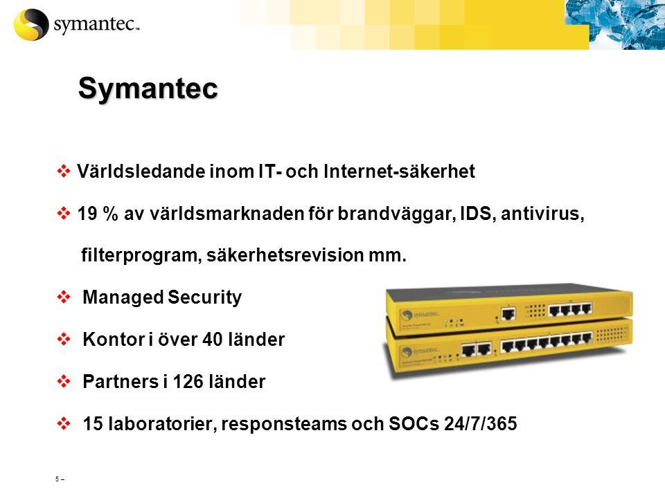 Symantec Världsledande inom IT- och Internet-säkerhet