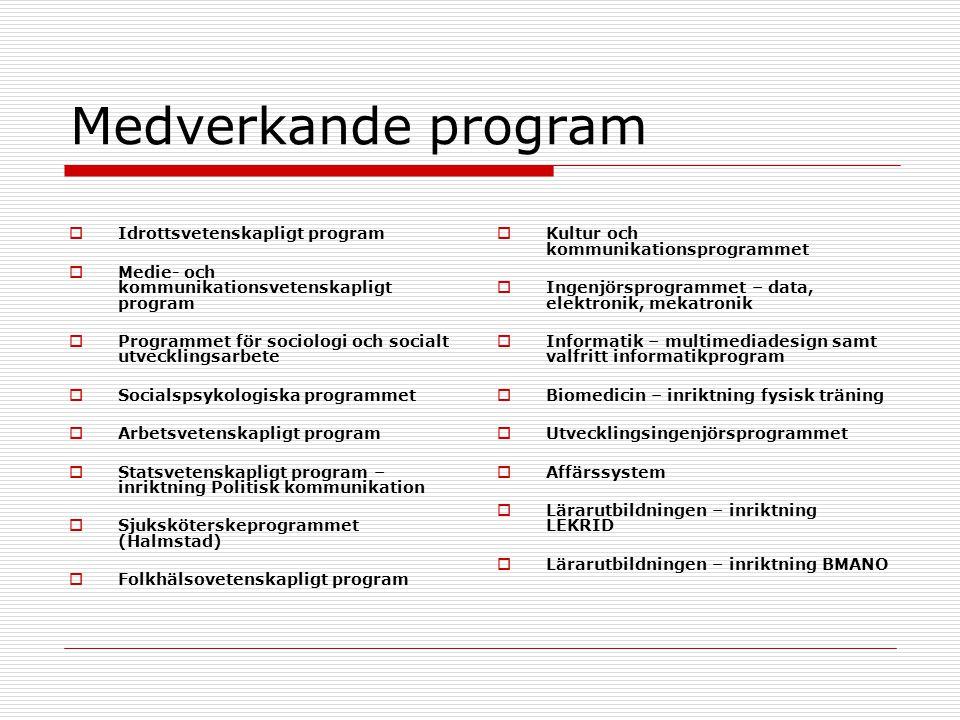 Medverkande program Idrottsvetenskapligt program
