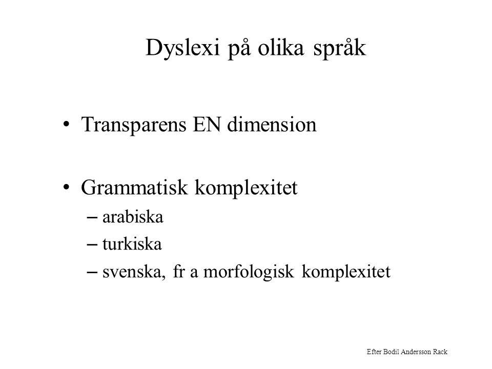 Dyslexi på olika språk Transparens EN dimension Grammatisk komplexitet