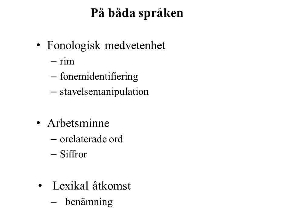 På båda språken Fonologisk medvetenhet Arbetsminne Lexikal åtkomst rim