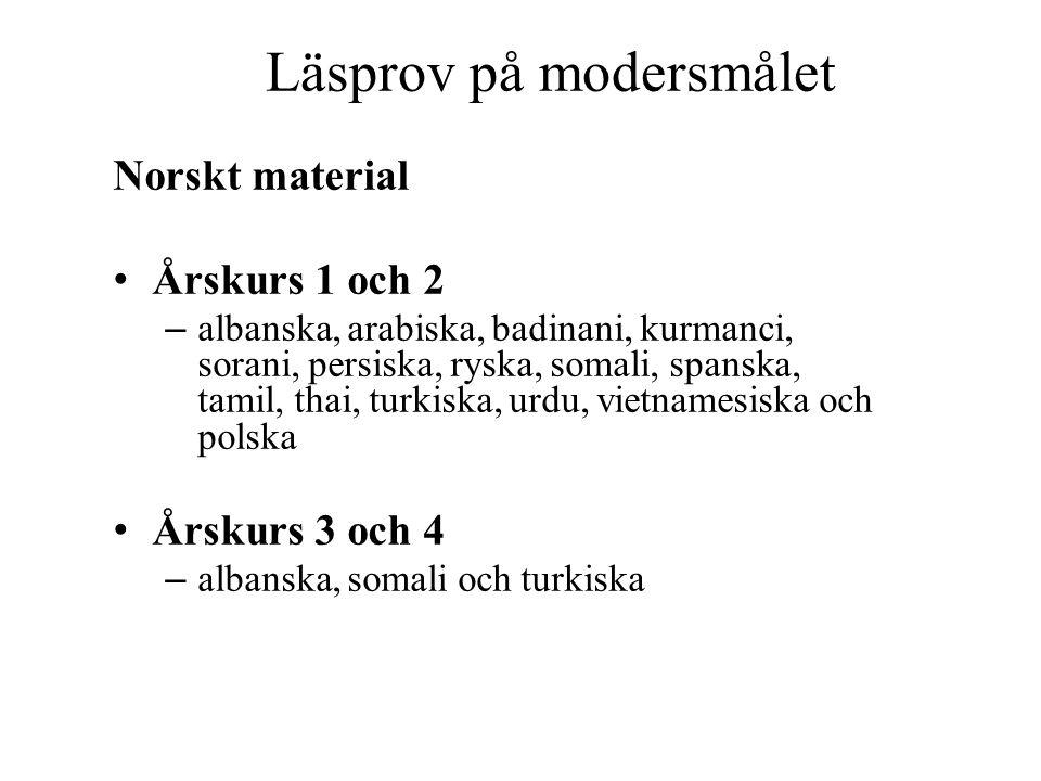 Läsprov på modersmålet