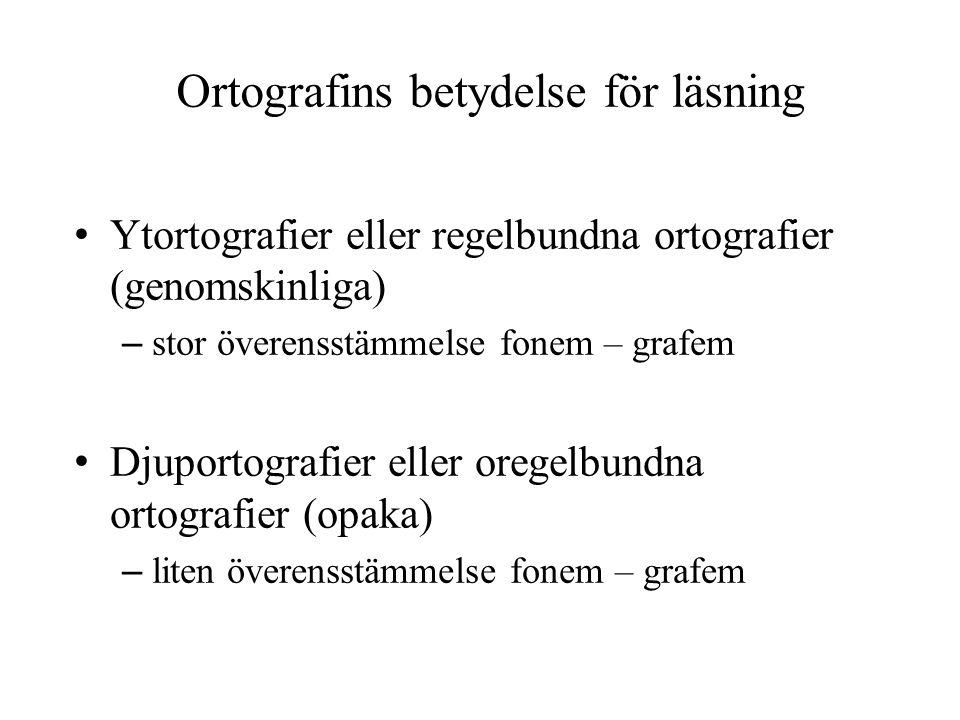 Ortografins betydelse för läsning