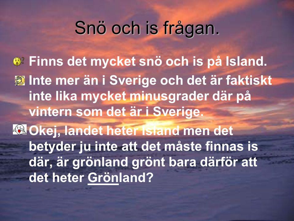 Snö och is frågan. Finns det mycket snö och is på Island.