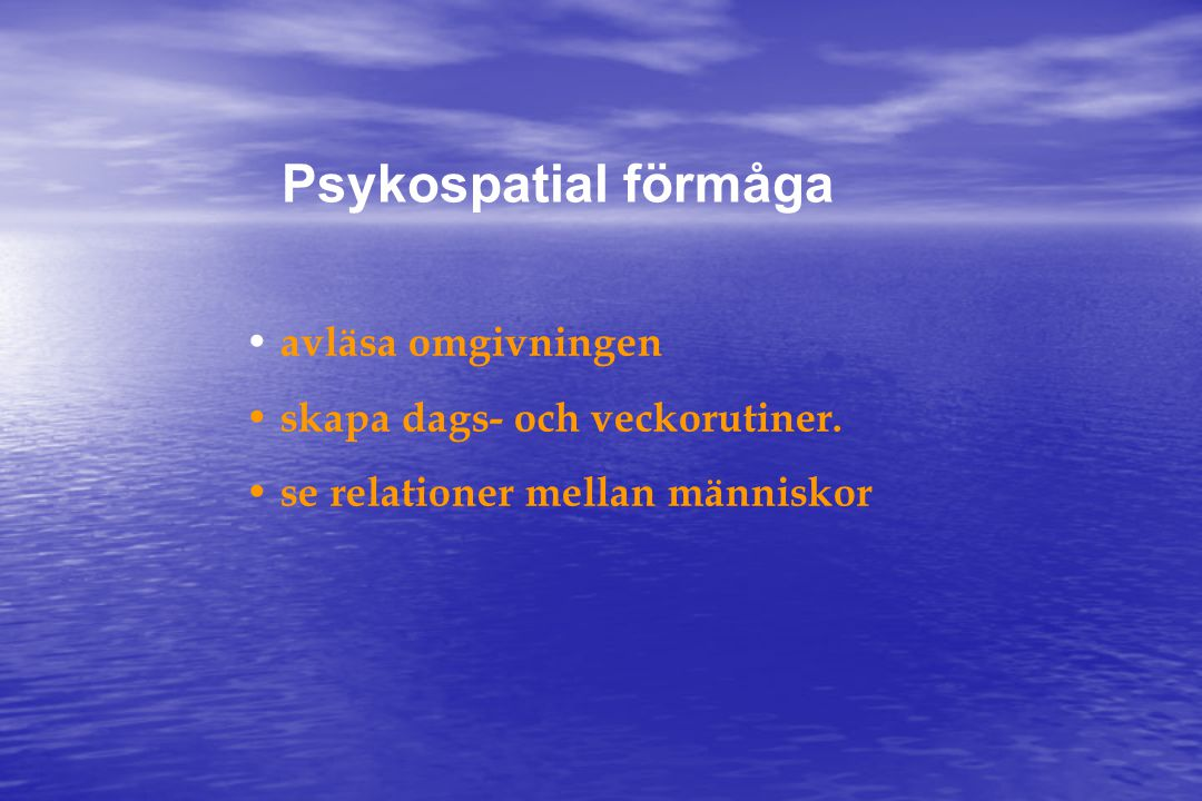 Psykospatial förmåga avläsa omgivningen skapa dags- och veckorutiner.