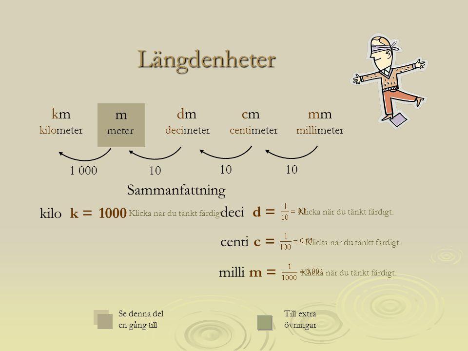 Längdenheter mm millimeter m meter cm centimeter dm decimeter