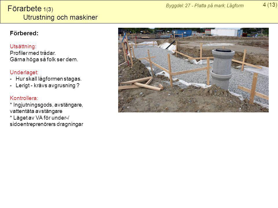 Förarbete 1(3) Utrustning och maskiner Förbered: Utsättning: