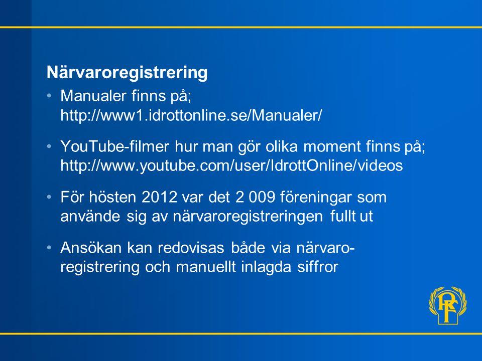 Närvaroregistrering Manualer finns på; http://www1.idrottonline.se/Manualer/
