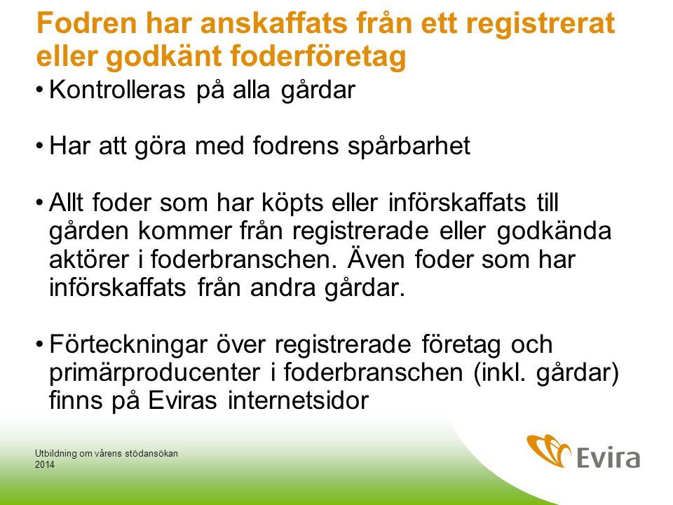 Fodren har anskaffats från ett registrerat eller godkänt foderföretag