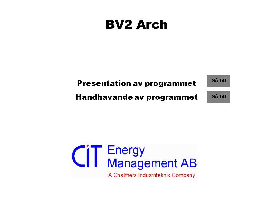 BV2 Arch Presentation av programmet Handhavande av programmet Gå till
