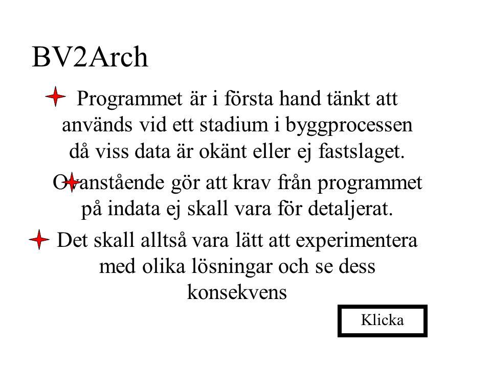 BV2Arch Programmet är i första hand tänkt att används vid ett stadium i byggprocessen då viss data är okänt eller ej fastslaget.
