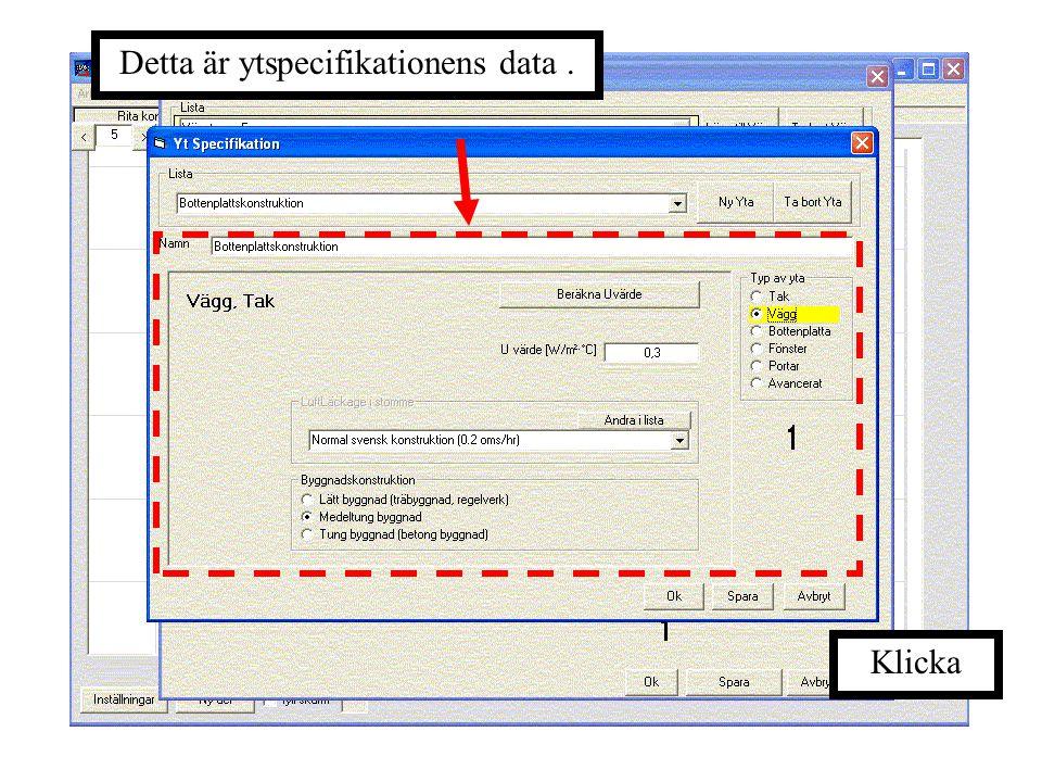 Detta är ytspecifikationens data .