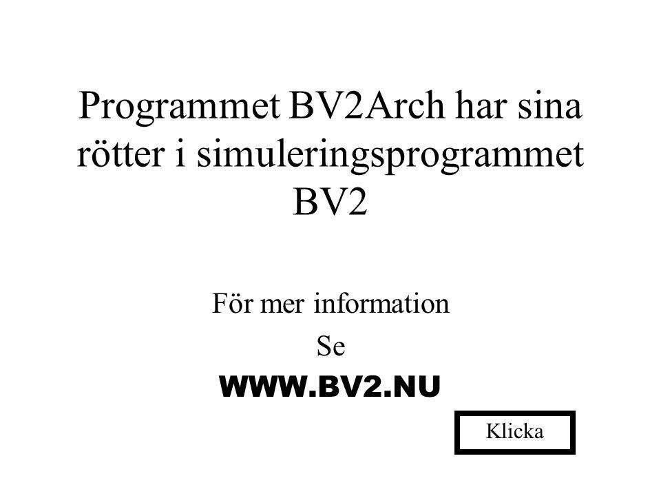 Programmet BV2Arch har sina rötter i simuleringsprogrammet BV2