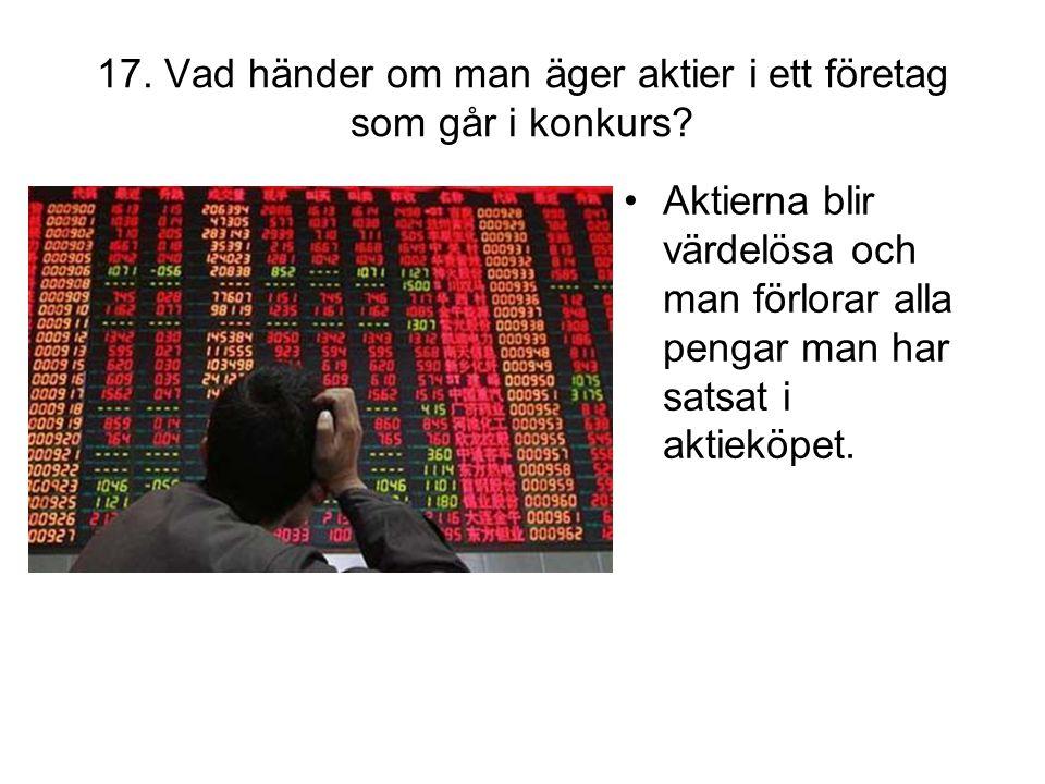 17. Vad händer om man äger aktier i ett företag som går i konkurs