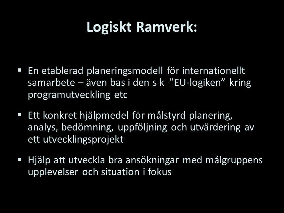 Logiskt Ramverk: En etablerad planeringsmodell för internationellt samarbete – även bas i den s k EU-logiken kring programutveckling etc.