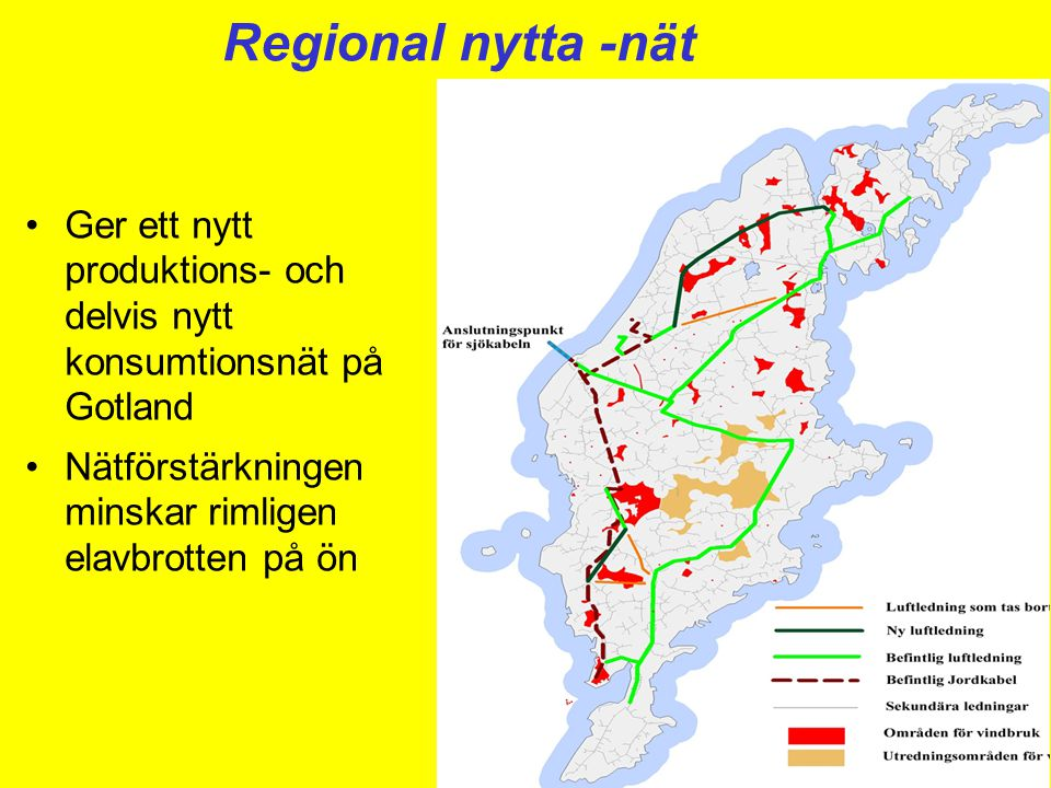 Regional nytta -nät Ger ett nytt produktions- och delvis nytt konsumtionsnät på Gotland. Nätförstärkningen minskar rimligen elavbrotten på ön.