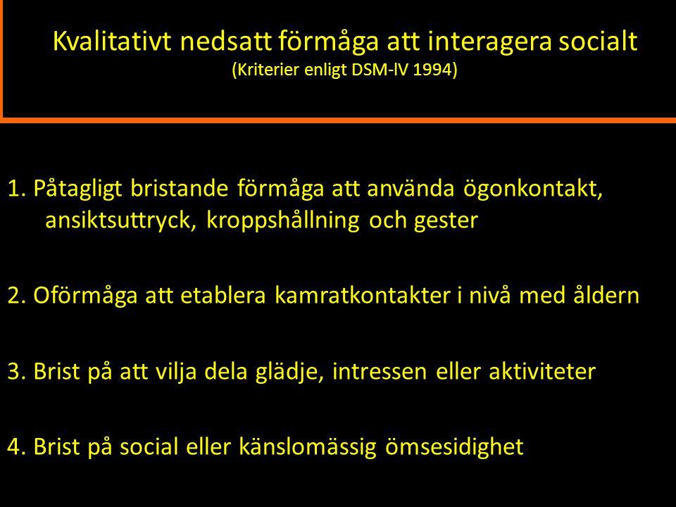 Kvalitativt nedsatt förmåga att interagera socialt (Kriterier enligt DSM-lV 1994)