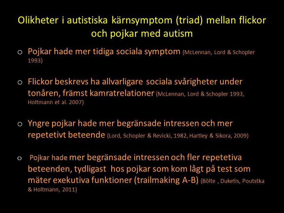 Olikheter i autistiska kärnsymptom (triad) mellan flickor och pojkar med autism