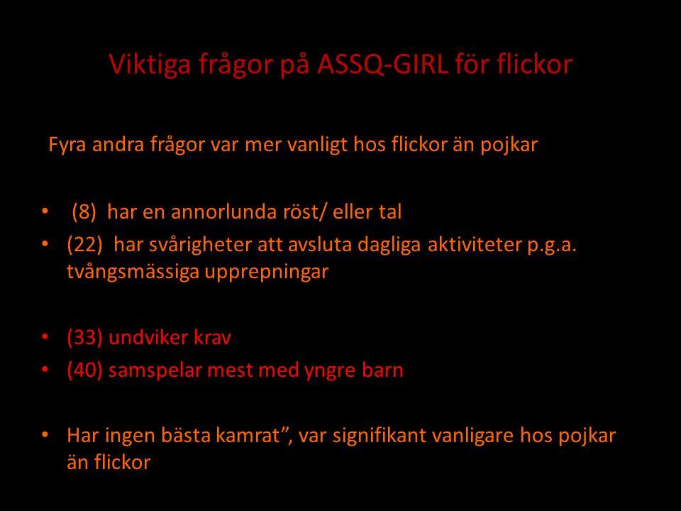 Viktiga frågor på ASSQ-GIRL för flickor