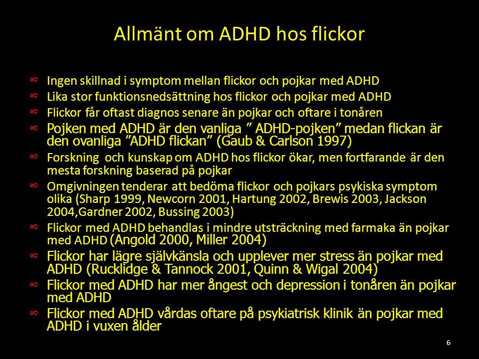 Allmänt om ADHD hos flickor