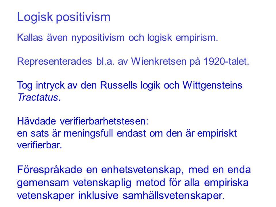 Logisk positivism Kallas även nypositivism och logisk empirism. Representerades bl.a. av Wienkretsen på 1920-talet.
