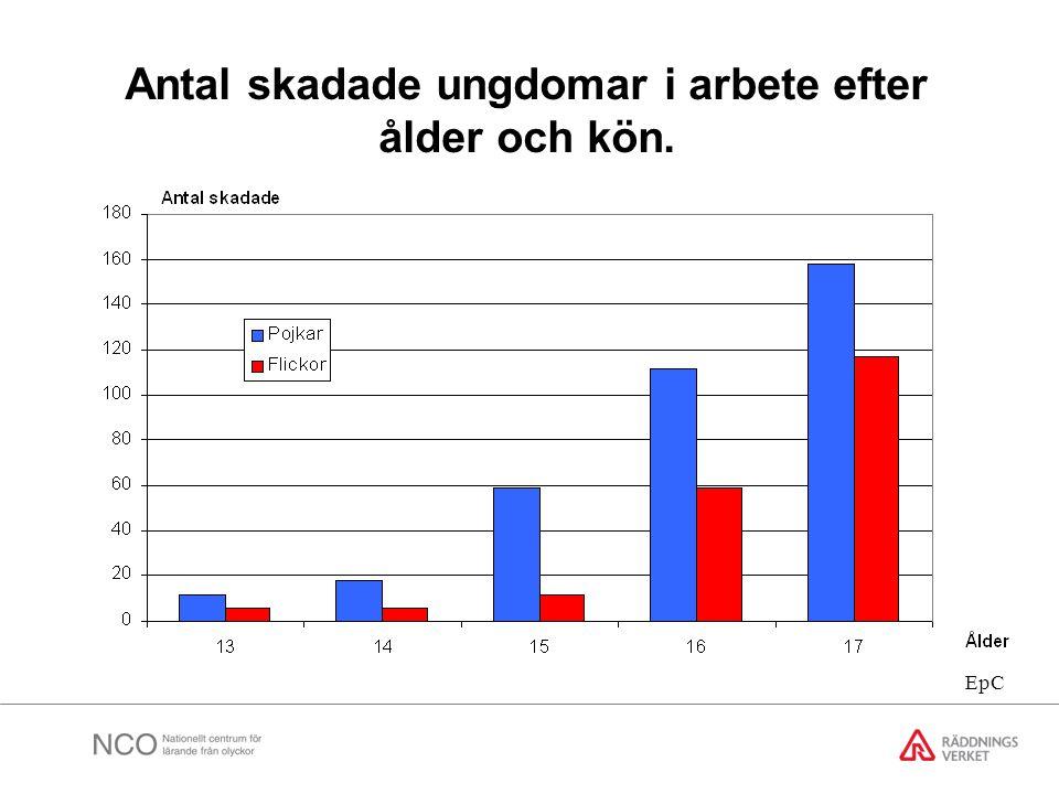 Antal skadade ungdomar i arbete efter ålder och kön.