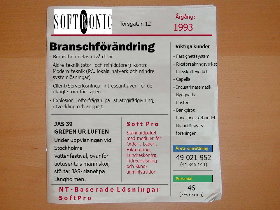 Årgång: Torsgatan 12. 1993. Branschförändring. - Branschen delas i två delar: Äldre teknik (stor- och minidatorer) kontra.