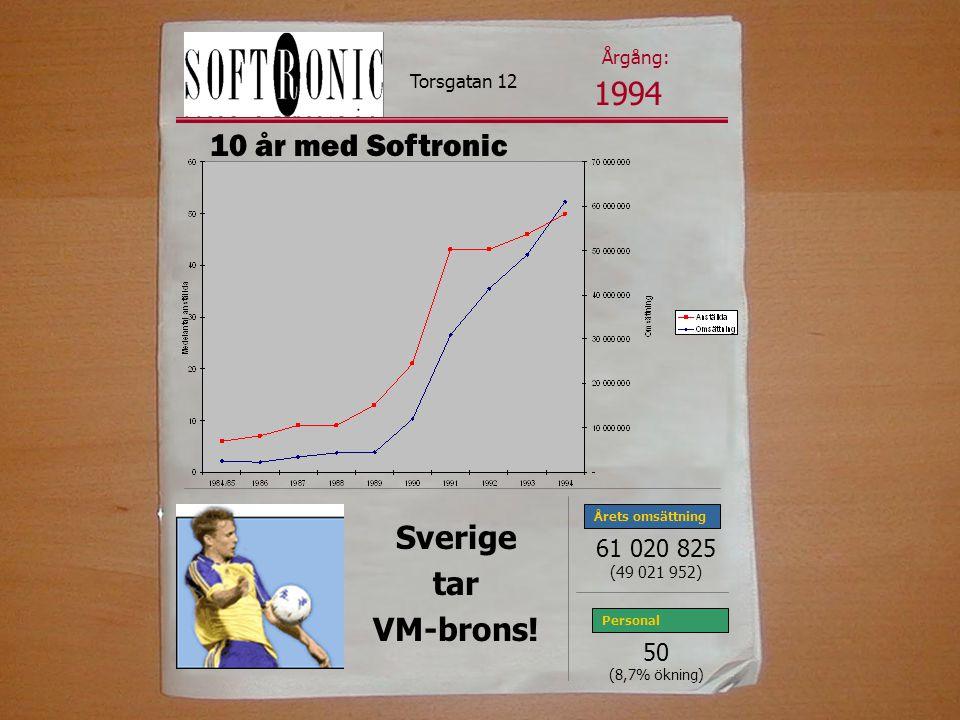 1994 10 år med Softronic Sverige tar VM-brons! 61 020 825 50 Årgång: