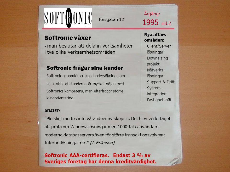 1995 sid.2 Softronic växer Softronic frågar sina kunder