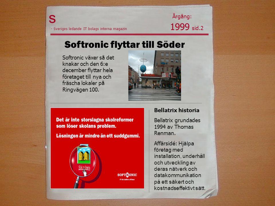s Softronic flyttar till Söder 1999 sid.2 Årgång: