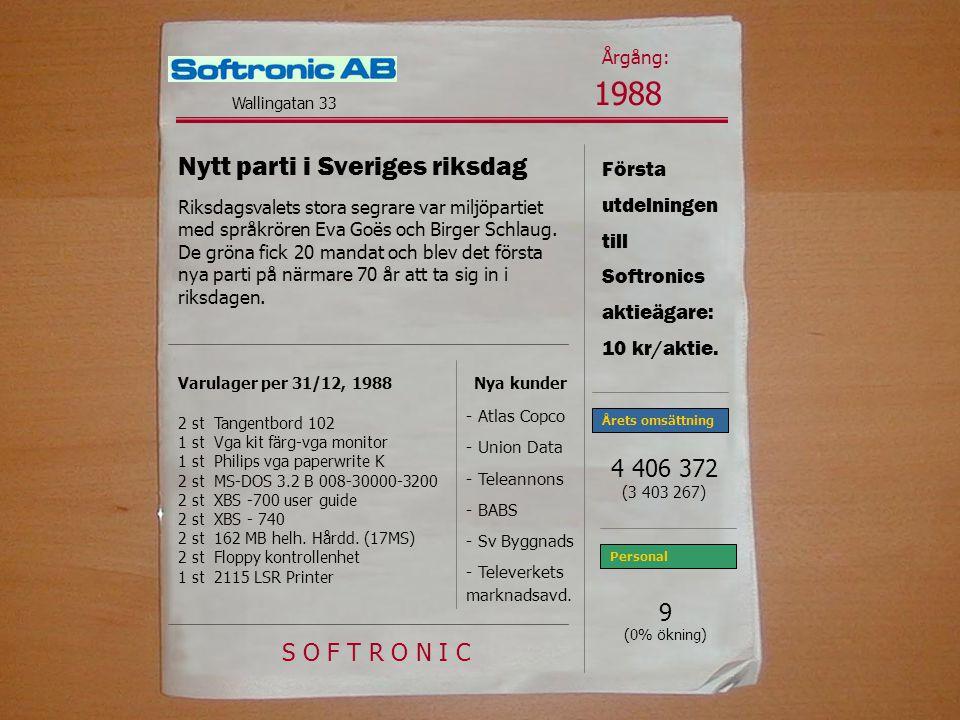 Första utdelningen till Softronics aktieägare: 10 kr/aktie.