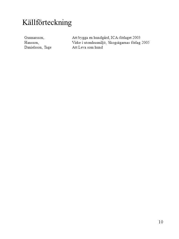 Källförteckning Gunnarsson, Att bygga en hundgård, ICA-förlaget 2003