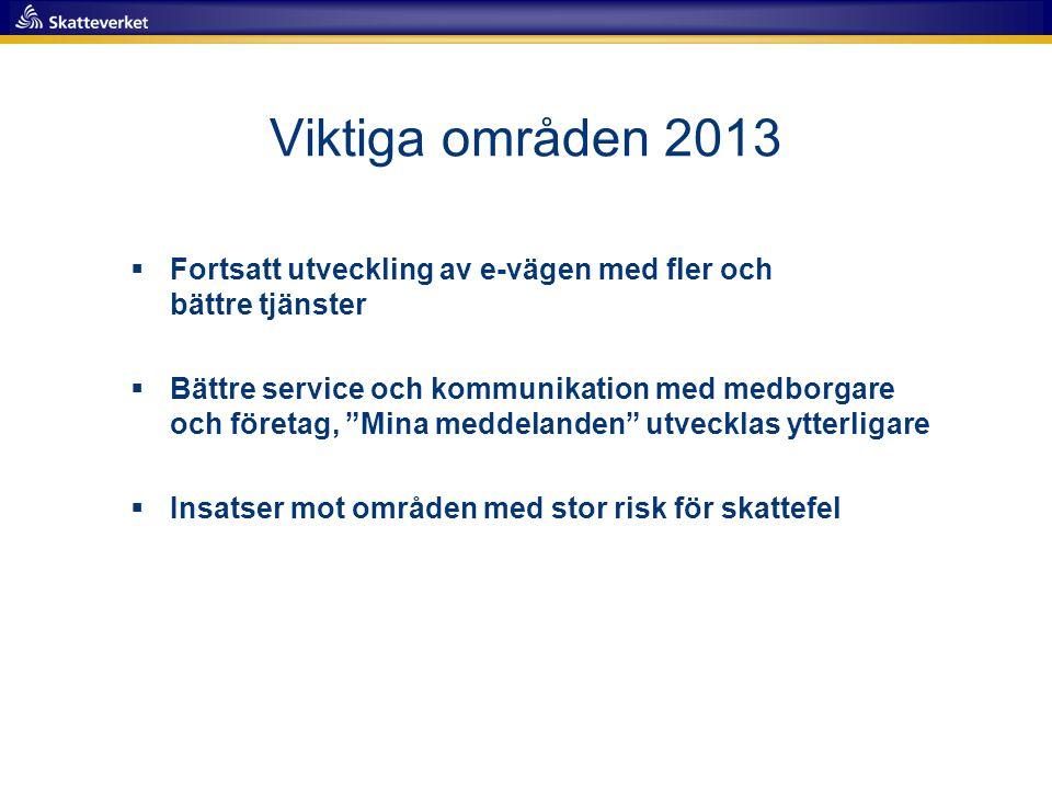 Viktiga områden 2013 Fortsatt utveckling av e-vägen med fler och bättre tjänster.