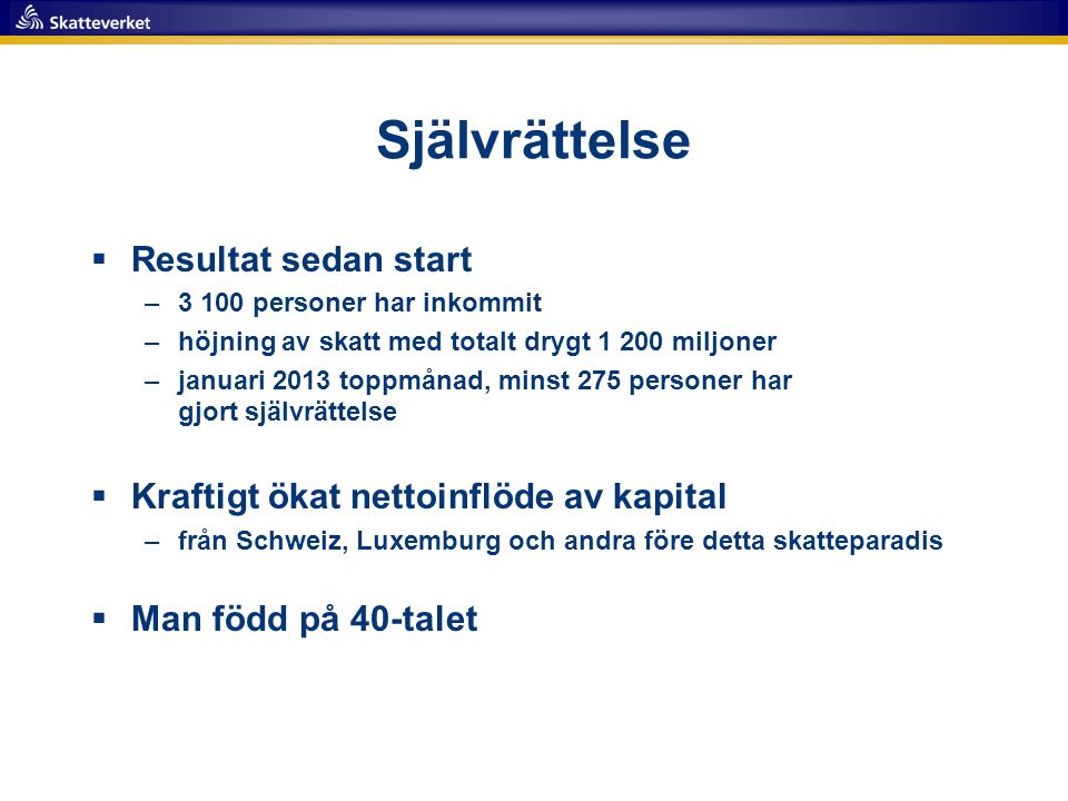 Självrättelse Resultat sedan start
