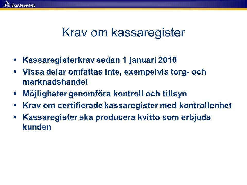 Krav om kassaregister Kassaregisterkrav sedan 1 januari 2010