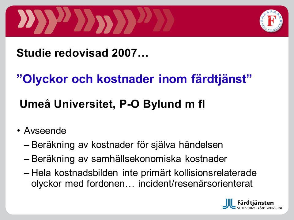 Studie redovisad 2007… Olyckor och kostnader inom färdtjänst Umeå Universitet, P-O Bylund m fl