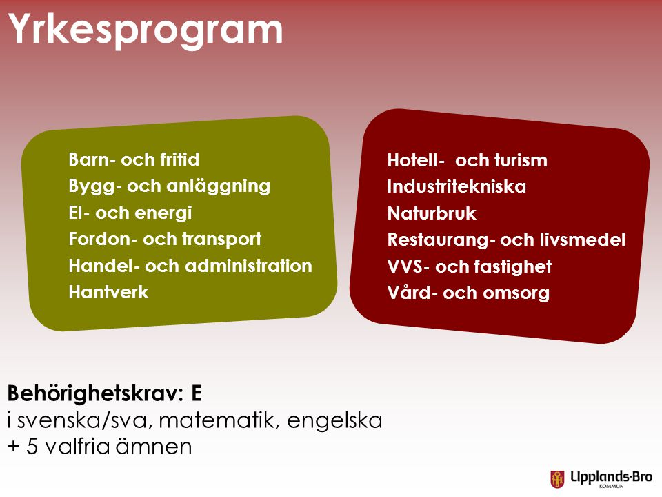 Yrkesprogram Behörighetskrav: E i svenska/sva, matematik, engelska