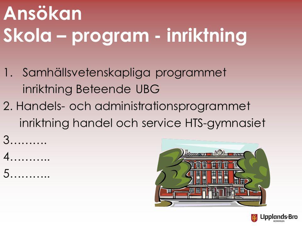 Ansökan Skola – program - inriktning