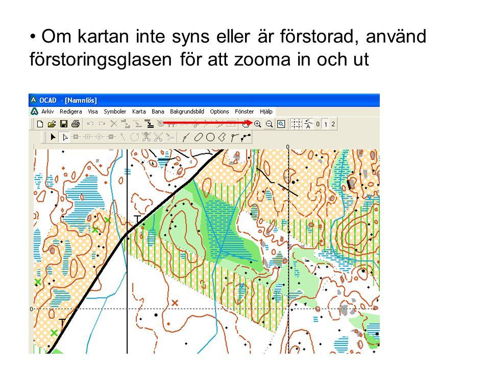 Om kartan inte syns eller är förstorad, använd förstoringsglasen för att zooma in och ut