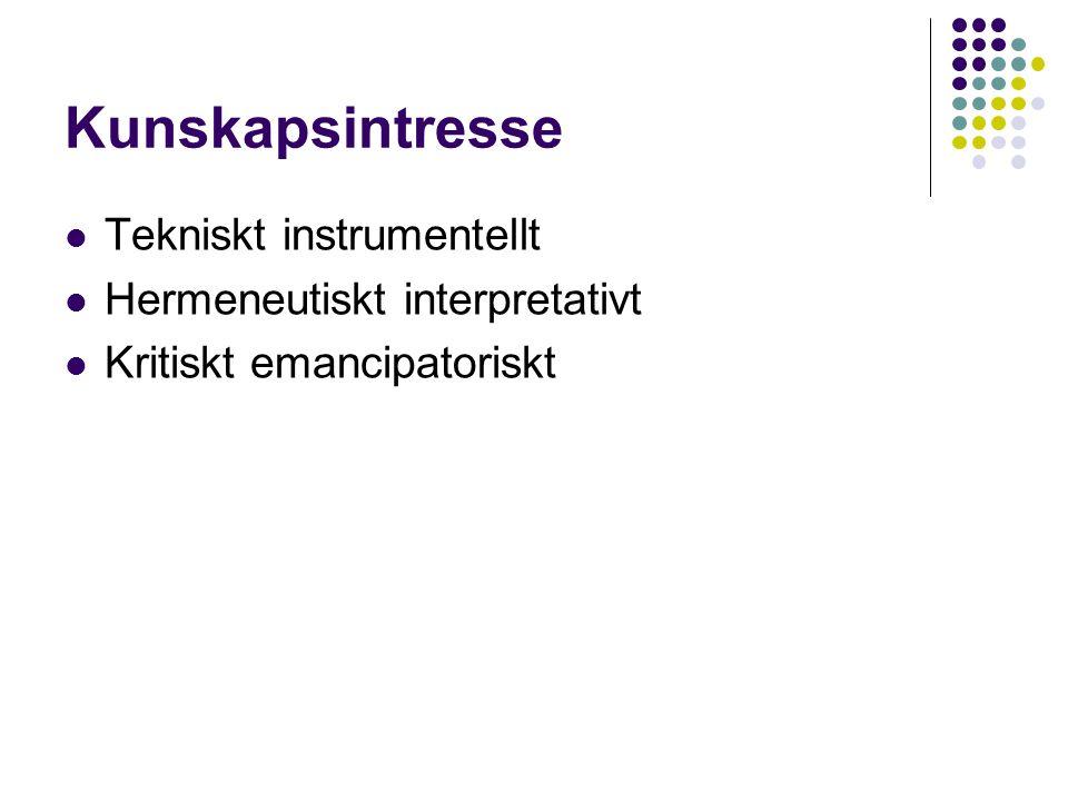 Kunskapsintresse Tekniskt instrumentellt Hermeneutiskt interpretativt