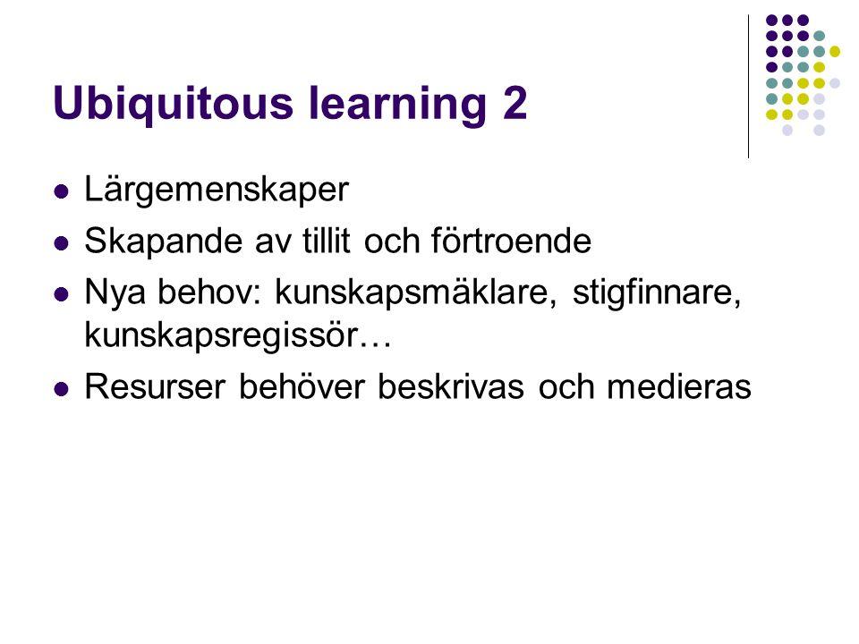 Ubiquitous learning 2 Lärgemenskaper Skapande av tillit och förtroende