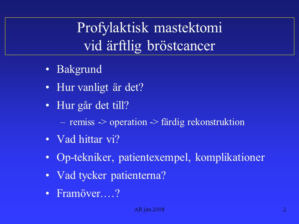 Profylaktisk mastektomi vid ärftlig bröstcancer