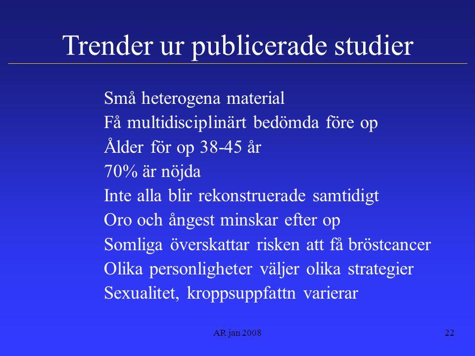 Trender ur publicerade studier