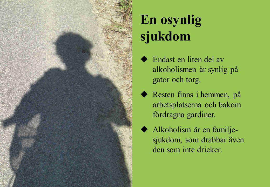 En osynlig sjukdom  Endast en liten del av alkoholismen är synlig på gator och torg.