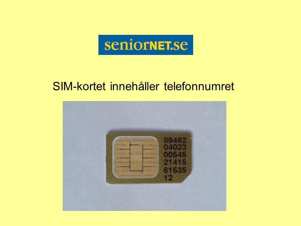 SIM-kortet innehåller telefonnumret