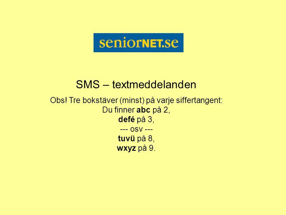 SMS – textmeddelanden Obs.