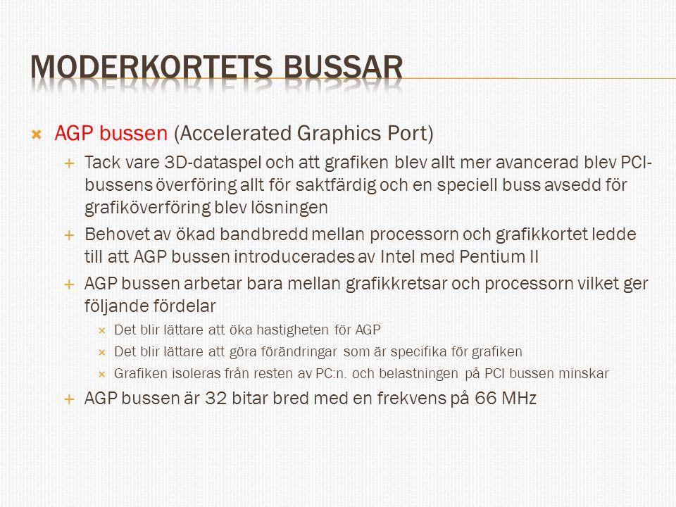 Moderkortets bussar AGP bussen (Accelerated Graphics Port)